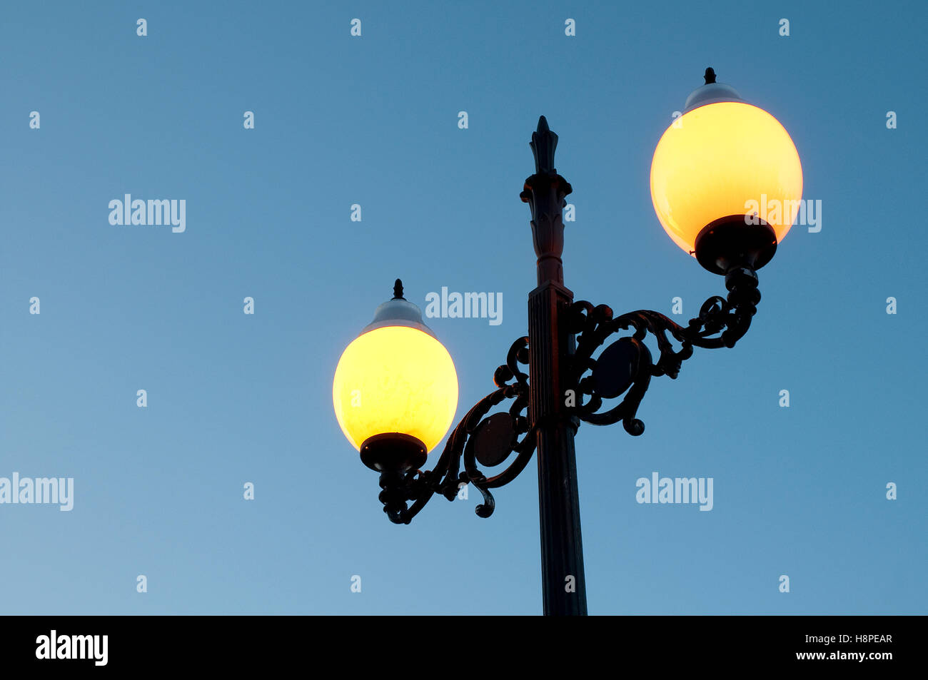 Detail of streetlight at evening. - Stock Image