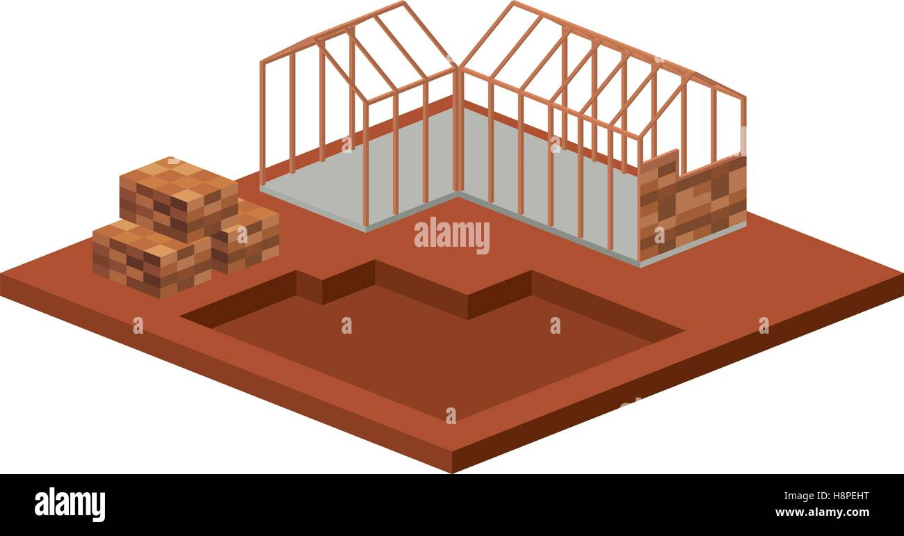 House architecture model icon  Isometric 3d structure and