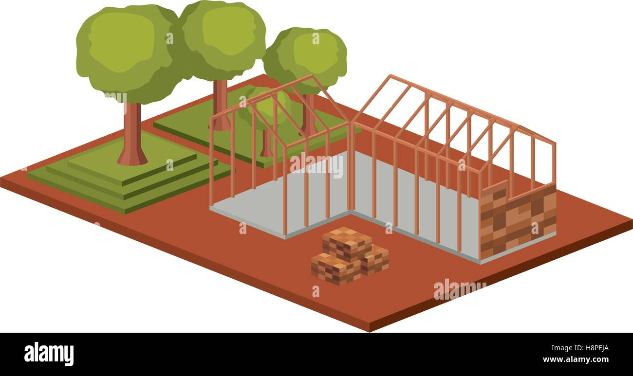 House architecture model with trees icon  Isometric 3d structure and