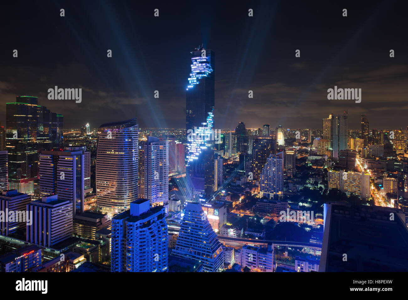 Light and sound show on Mahanakhon building,Mahanakhon building is tallest building in Bangkok,Thailand. - Stock Image