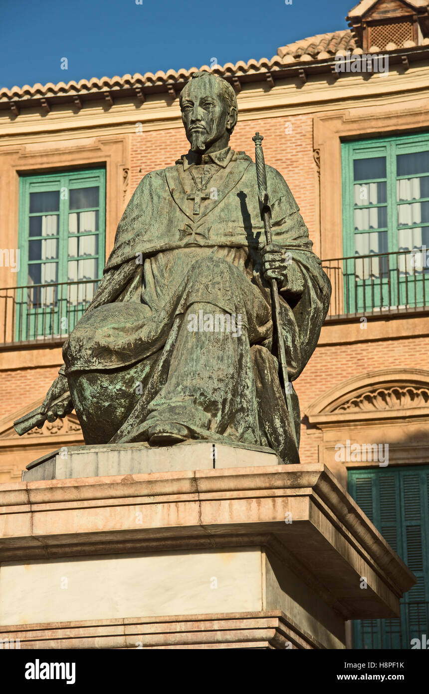 Cardenal Belluga Statue by City Hall, Murcia, Costa Calida, Murcia Provence, Spain, Europe, - Stock Image