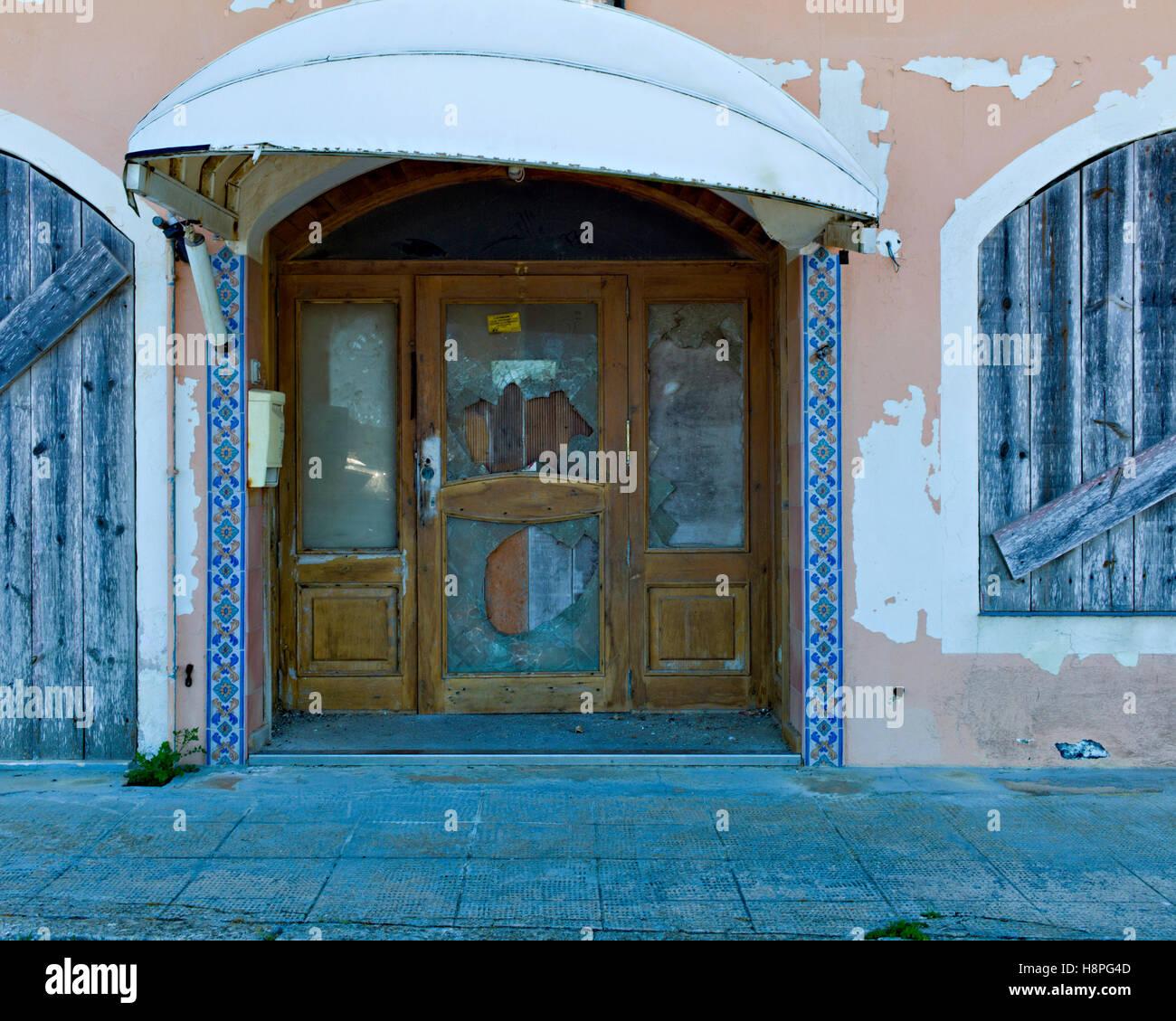 The derelict Hostel Miramar on Carrer Moll del Fonduco Mahon Menorca Spain - Stock Image