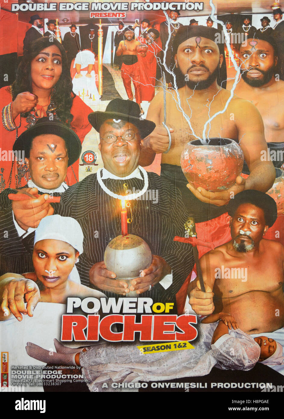 Nigerian Nollywood Film or Movie Poster. Power of Riches - Stock Image
