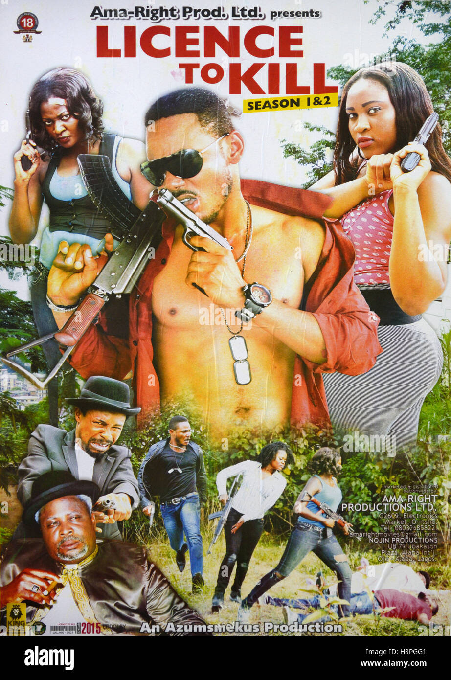 Nigerian Nollywood Film or Movie Poster for a Spoof James Bond Style Movie  'Licence to Kill' - Stock Image