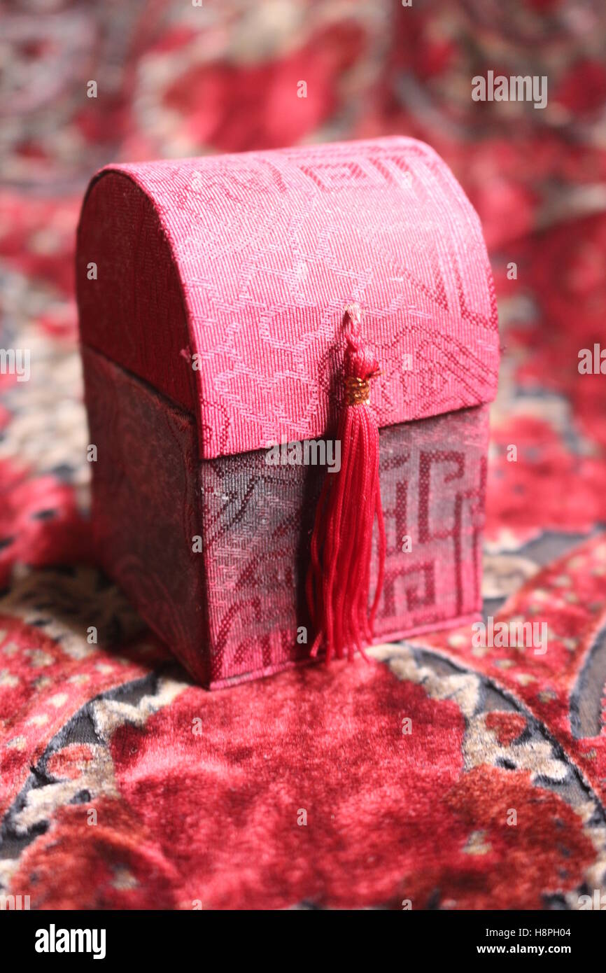 small red gift box - Stock Image