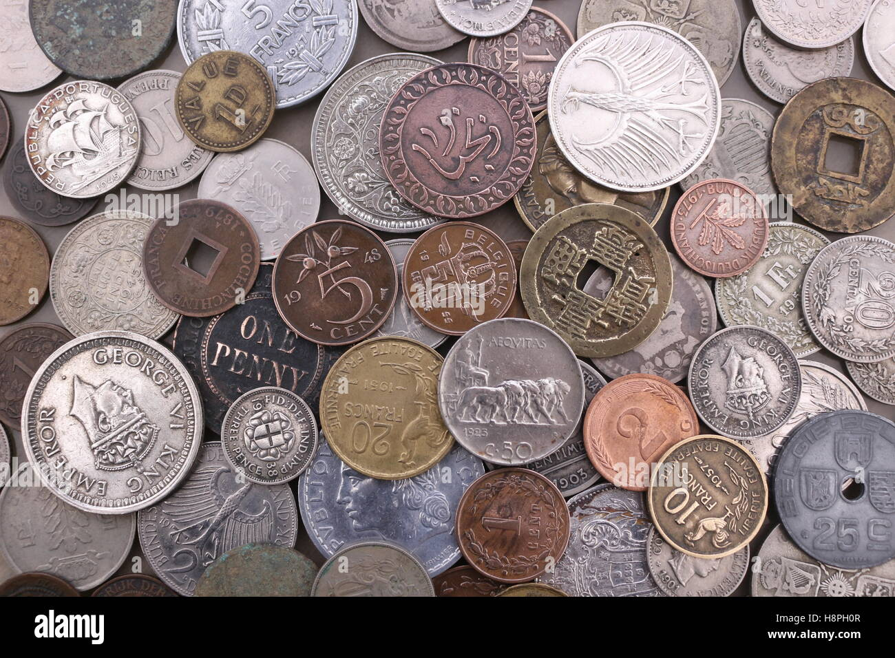 old foreign coin collection Stock Photo