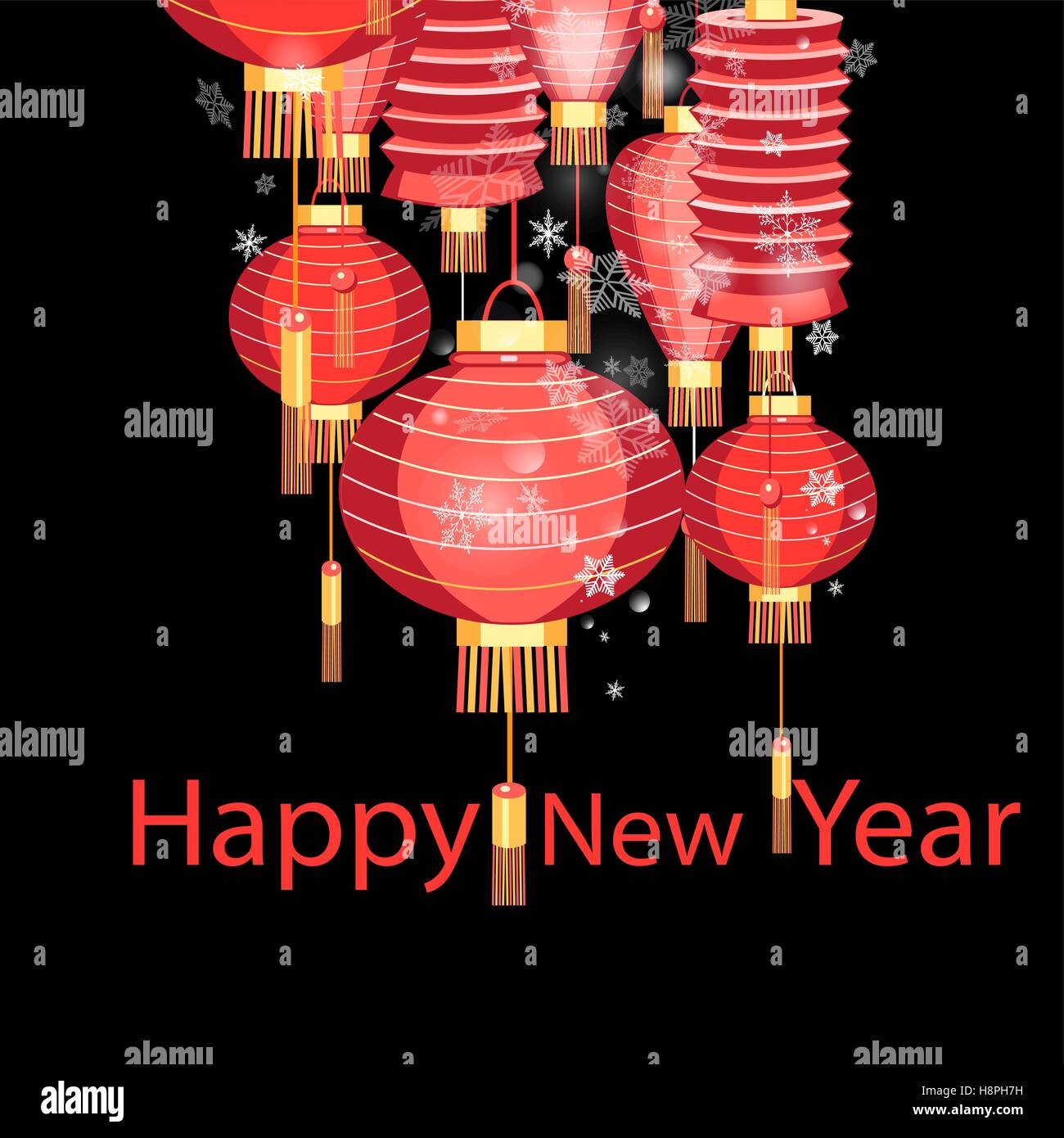 Greeting Christmas Card With Red Chinese Lanterns Stock Vector Art