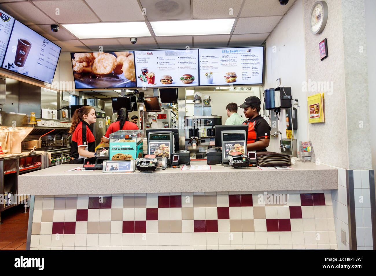 vero beach florida mcdonalds restaurant fast food interior counter cashier woman employees