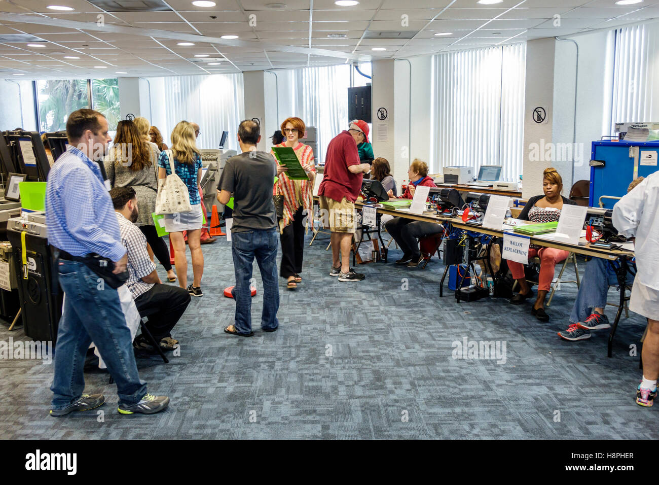 Miami Florida Beach polling place station presidential elections early voting - Stock Image