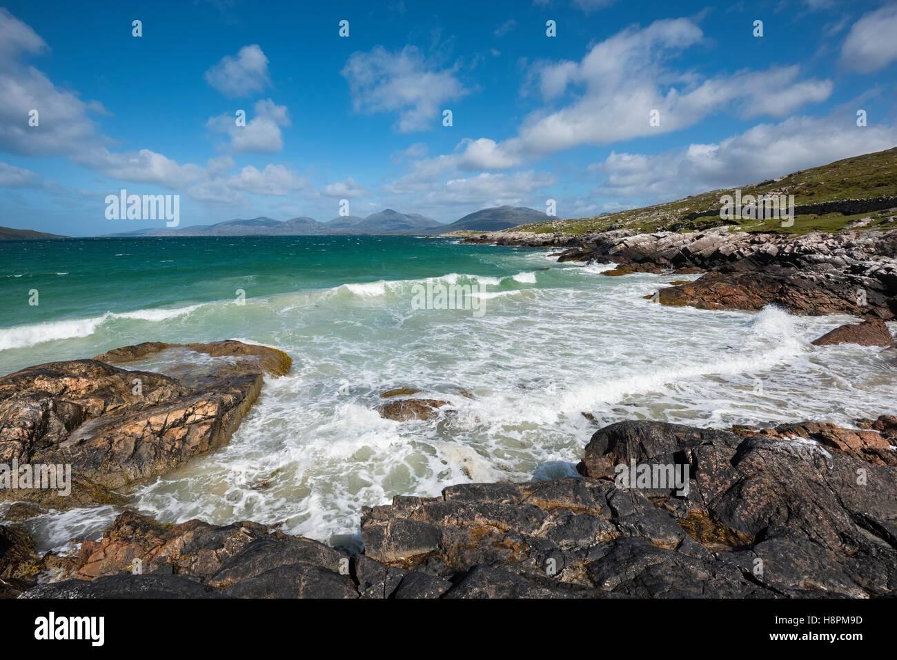Rocky Coast, Peninsula Luskentyre, Isle of Harris, Outer Hebrides, Scotland, United Kingdom - Stock Image