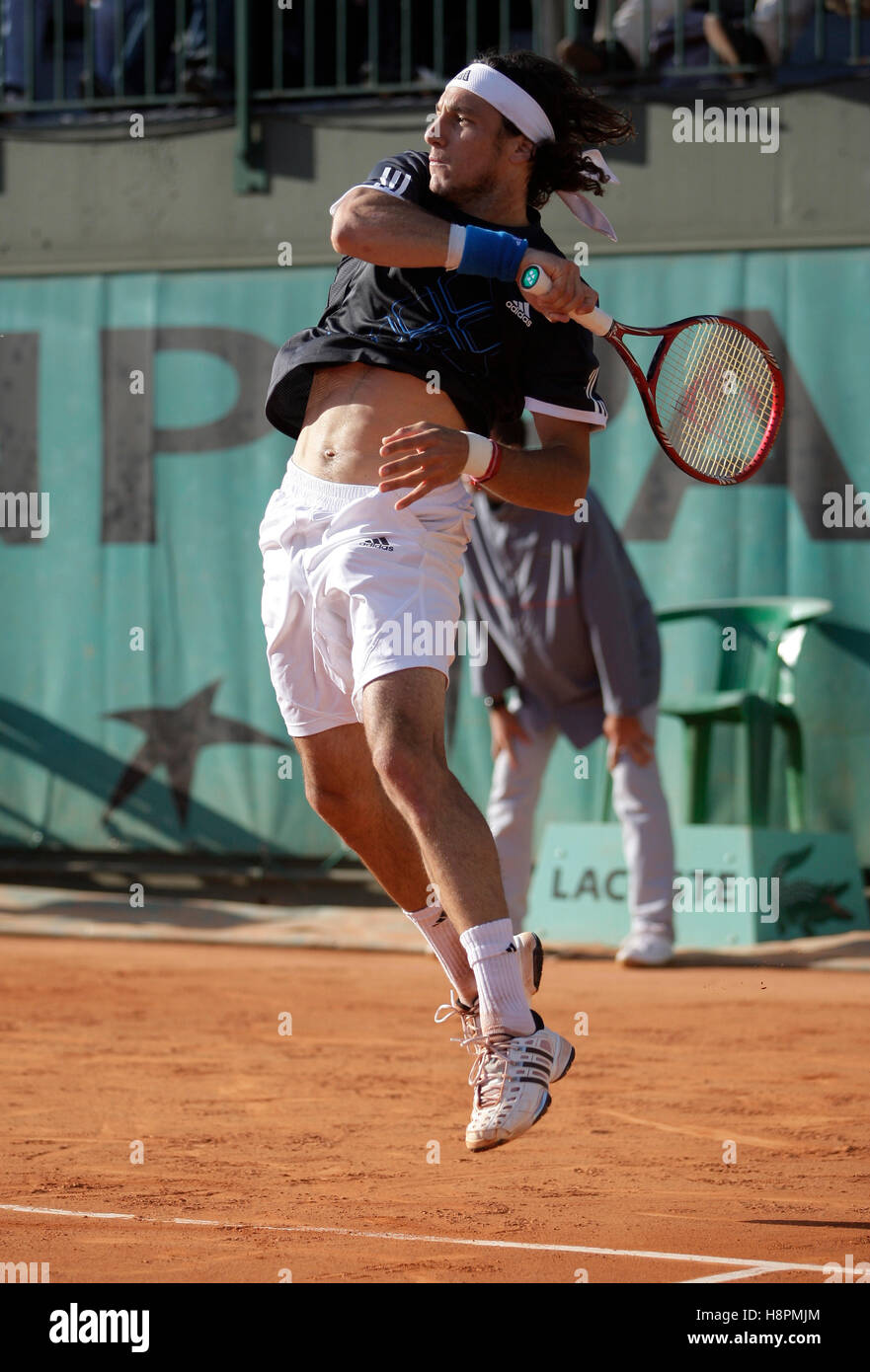 Juan Monaco, Argentina, playing a forehand, dynamics, tennis, the ITF Grand Slam tournament, French Open 2009, Roland - Stock Image