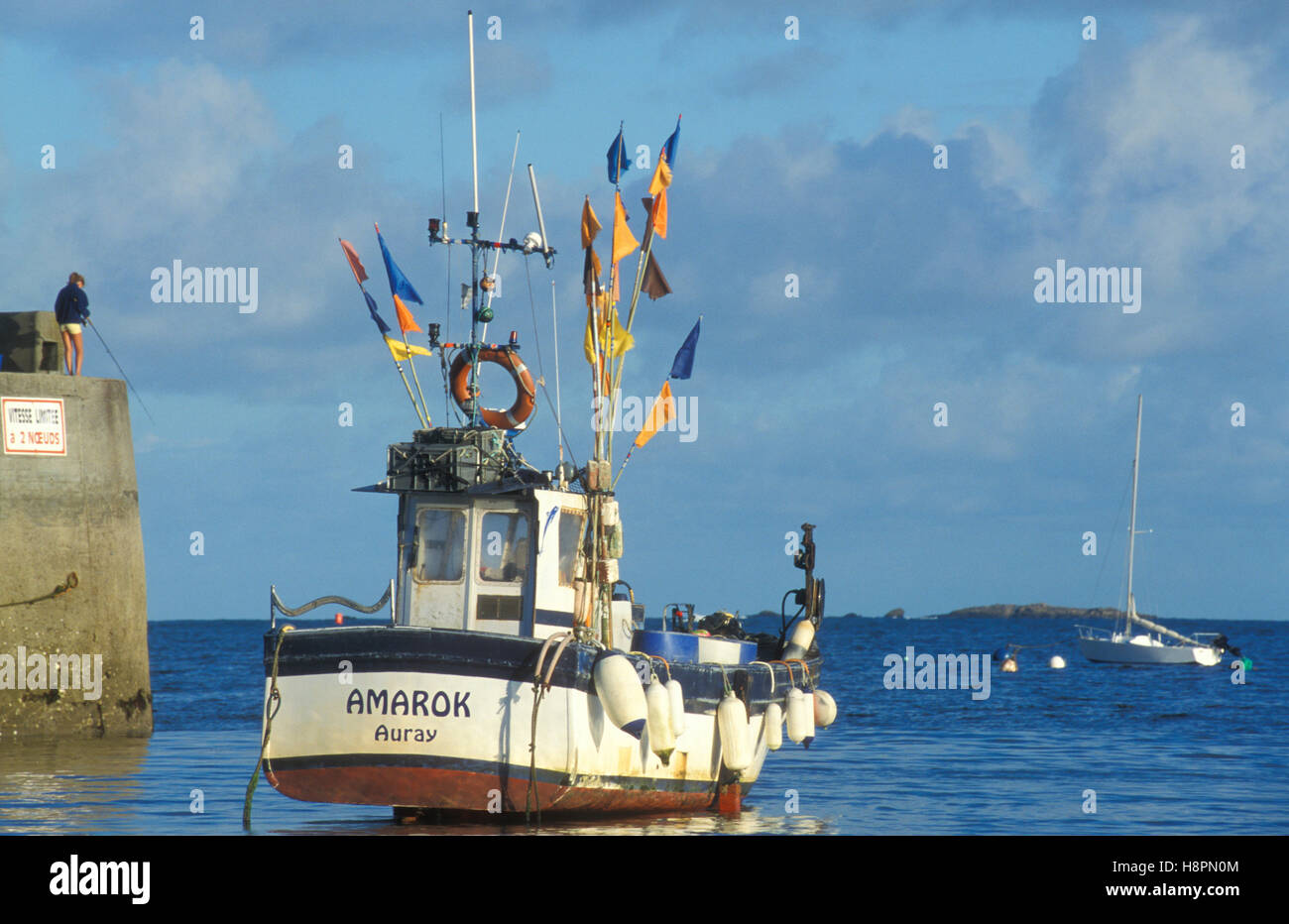 Fishing cutter in the harbor of Portivy, ebb, drained, fishing industry, Quiberon, Brittany, France, Europe - Stock Image