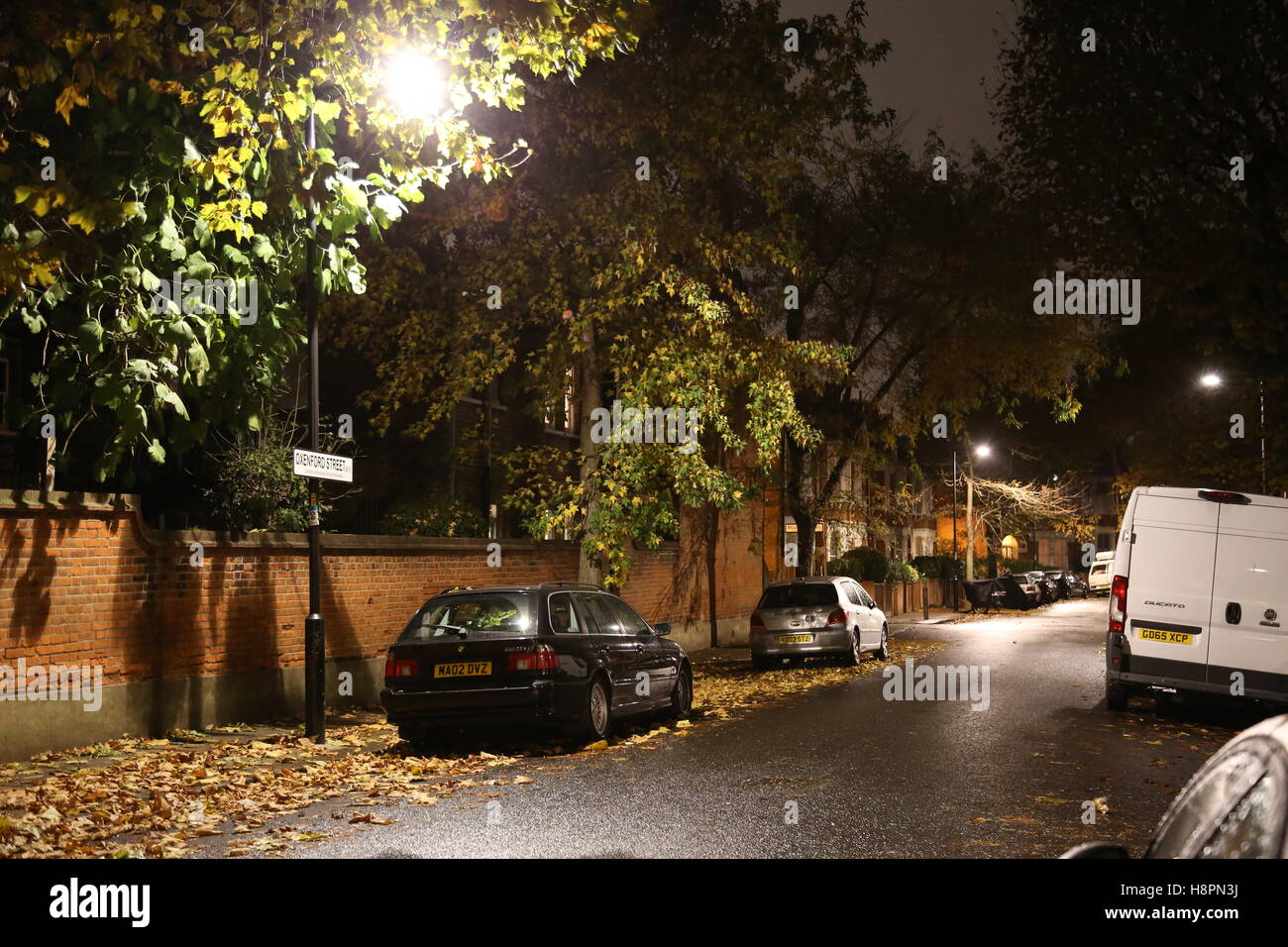 Autumn leaves cover the pavements and road in a typical South London street after dark on a wet night - Stock Image