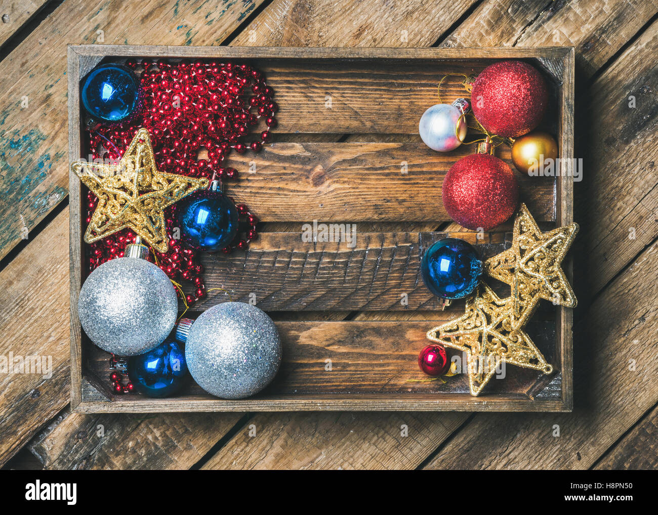 Christmas or New Year holiday decoration background, copy space - Stock Image