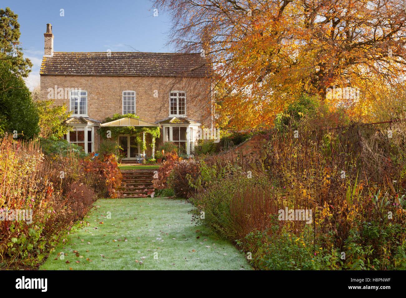 Hall Farm Garden, Harpswell, Lincolnshire, UK. Autumn, November 2016 ...