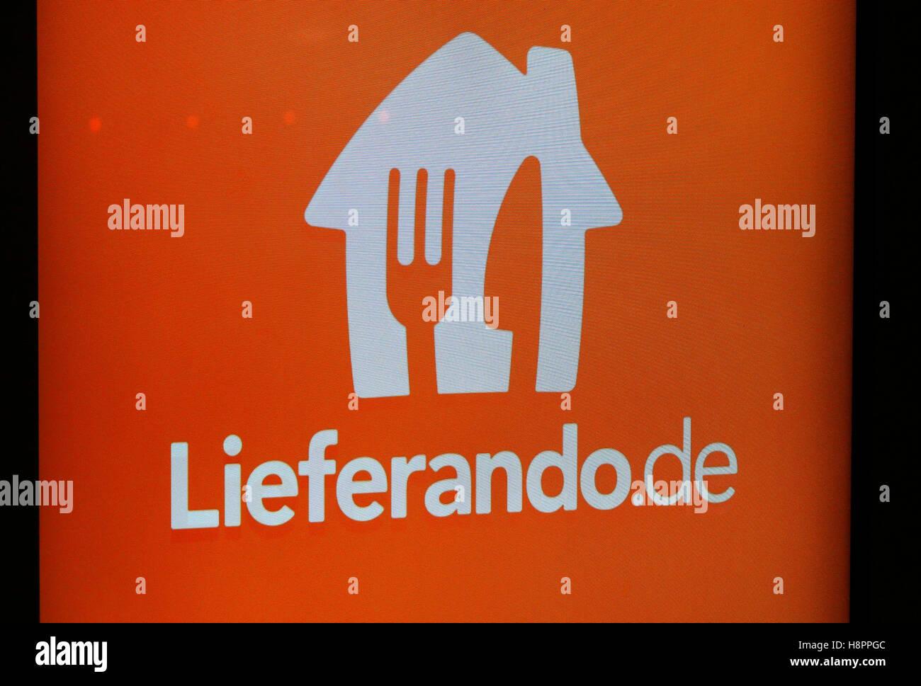 "das Logo der Marke ""Lieferando"", Berlin. Stock Photo"