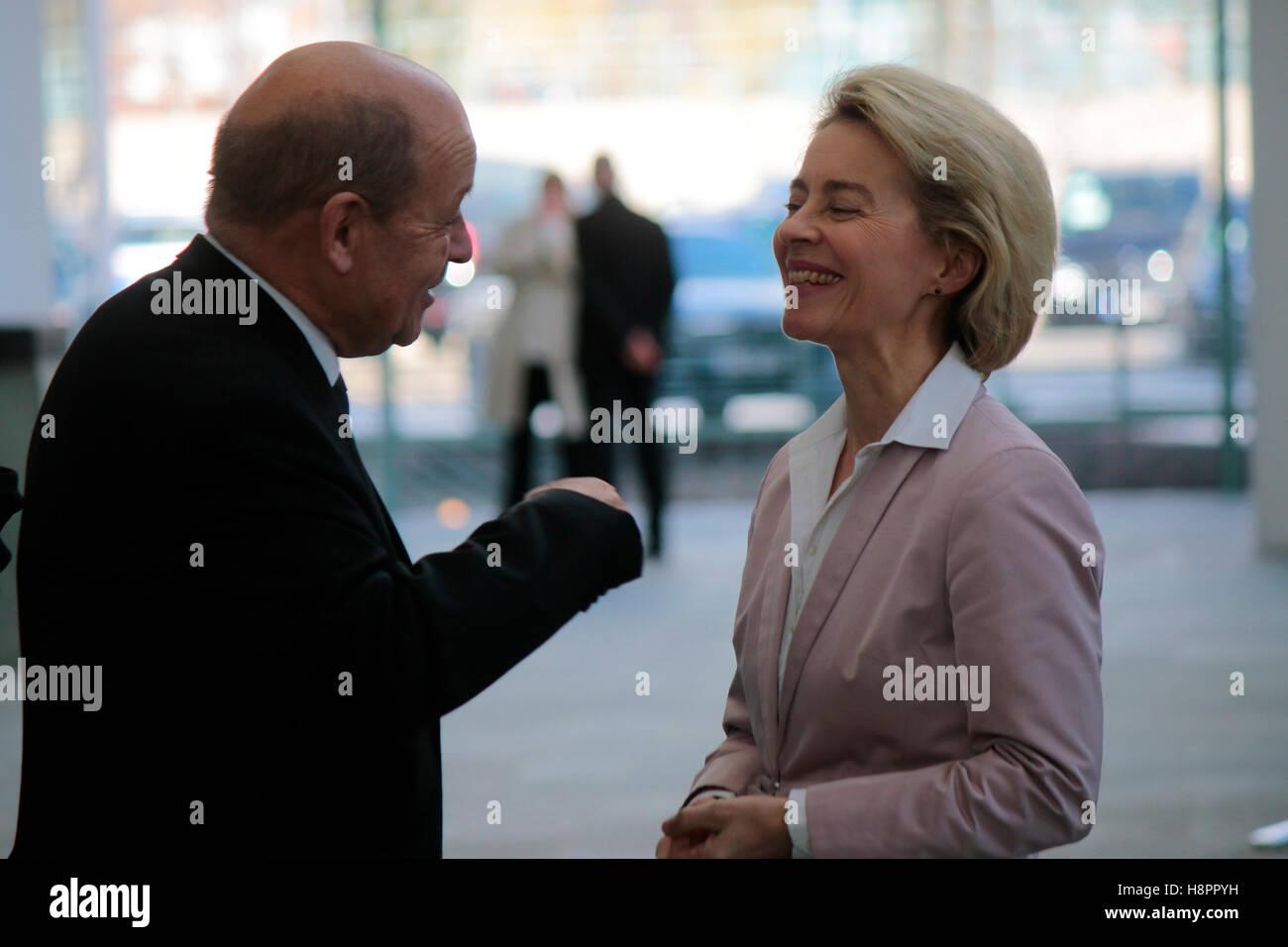 Jean-Yves Le Drian, Ursula von der Leyen - deutsch-franzoesische Regierungskonsultationen, Bundeskanzleramt, 31. - Stock Image