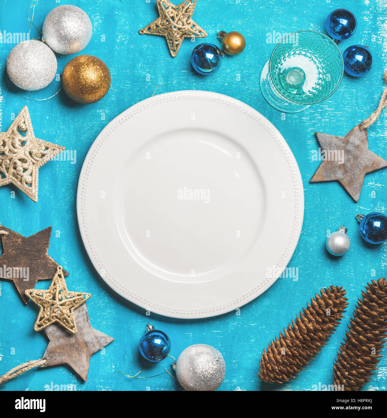 Christmas, New Year holiday background with white plate, copy space - Stock Image