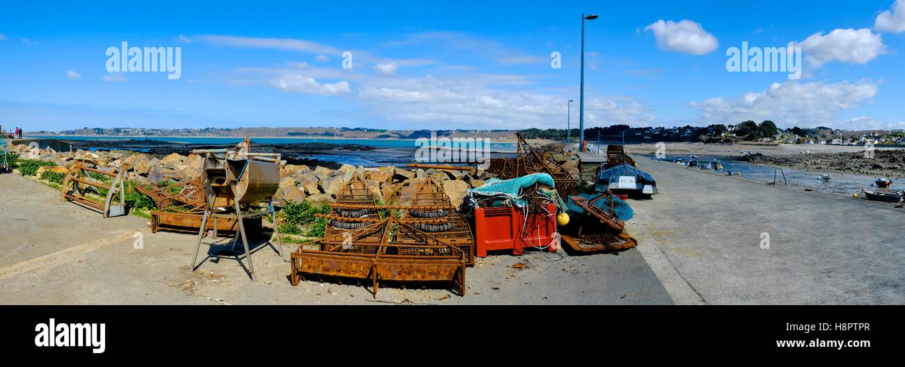 Fishing tackle at the port of Locquemeau, Brittany Stock Photo