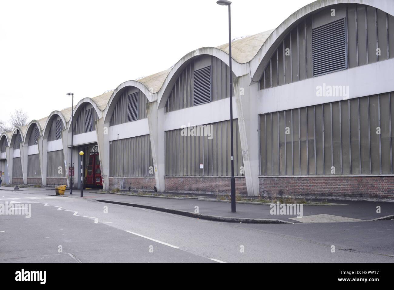 Bus depot in Stockwell, London UK - Stock Image