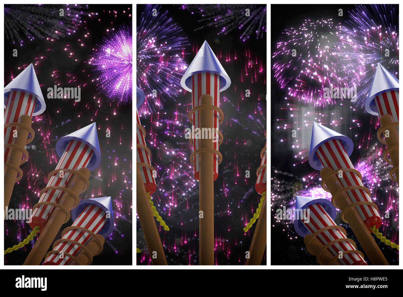 Composite image of rockets for fireworks - Stock Image