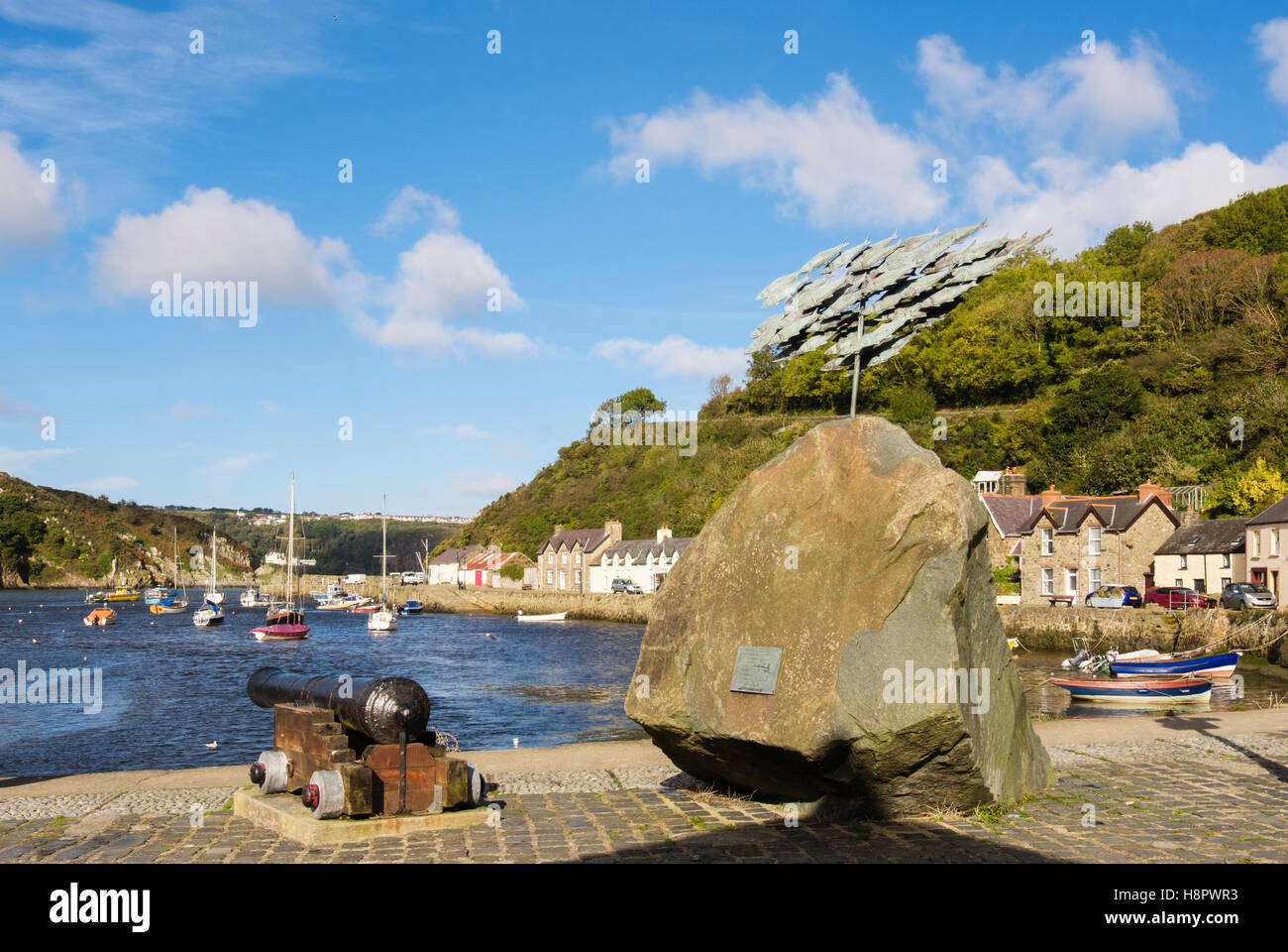 Fishguard Herrings sculpture beside the old port. Lower Fishguard (Abergwaun), Pembrokeshire, South Wales, UK, Britain - Stock Image