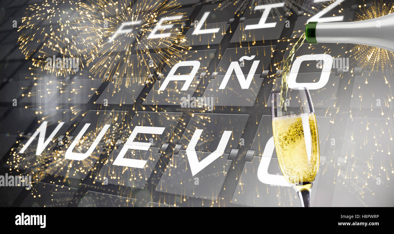 Composite image of champagne pouring - Stock Image
