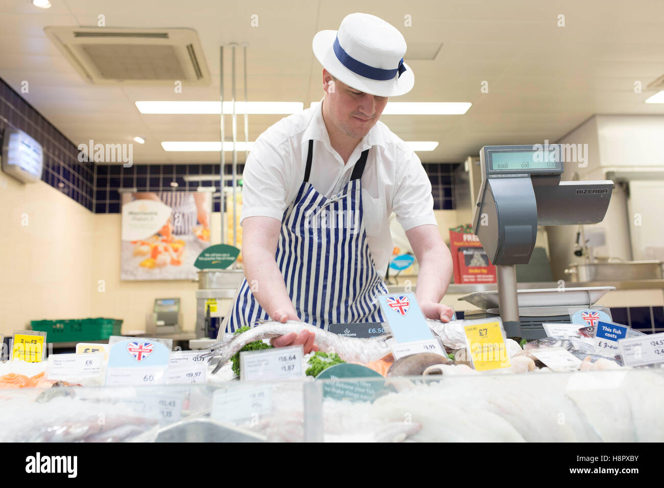 Interior of a Morrisons supermarket. Fishmonger - Stock Image
