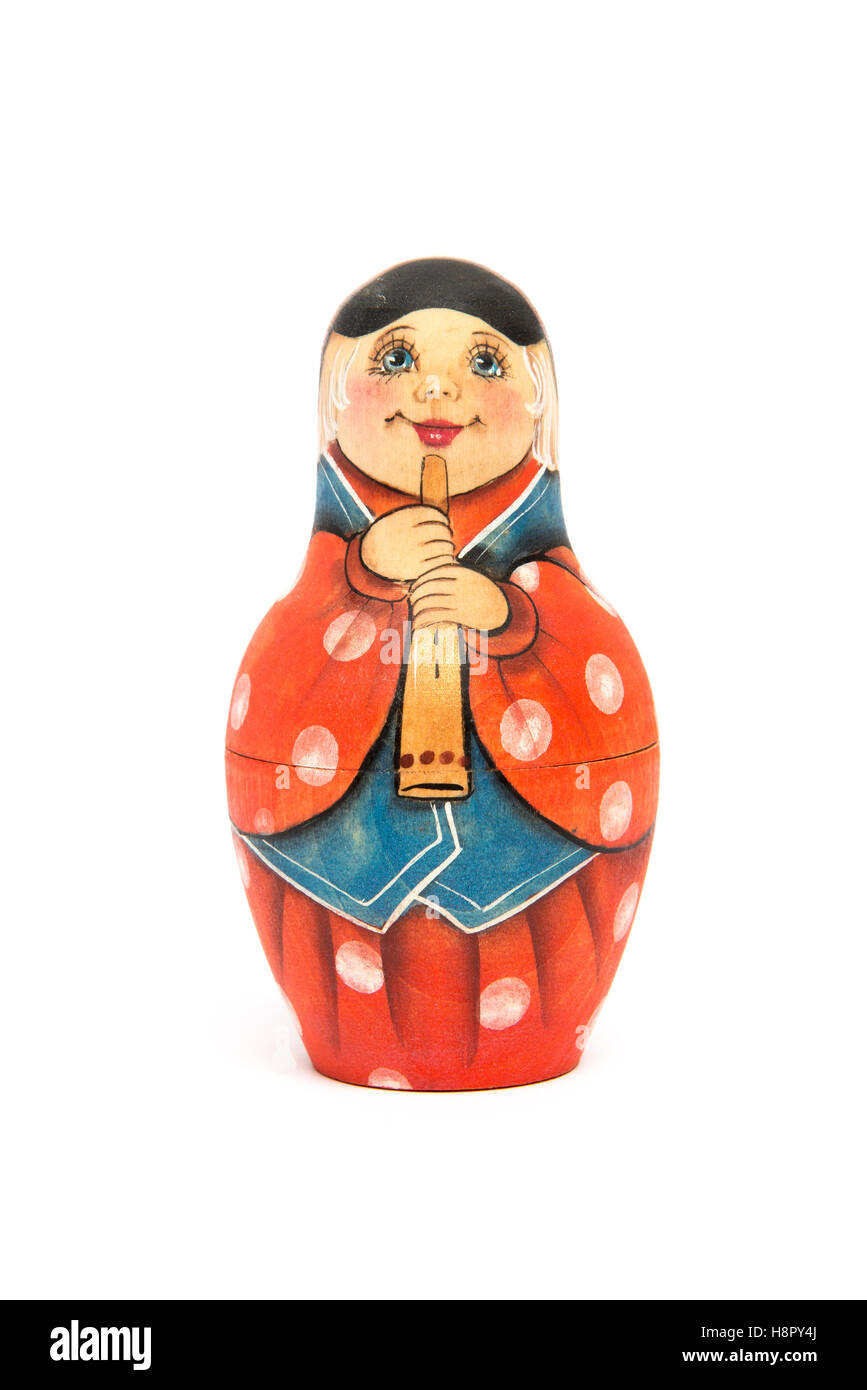 Russian doll matrioshka matte painted and isolated - Stock Image