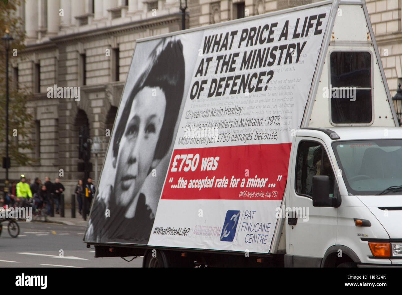 London, UK. 15th Nov, 2016. An ad campaign run by Pat Finucane centre, set up following the Irish human rights lawyer Stock Photo