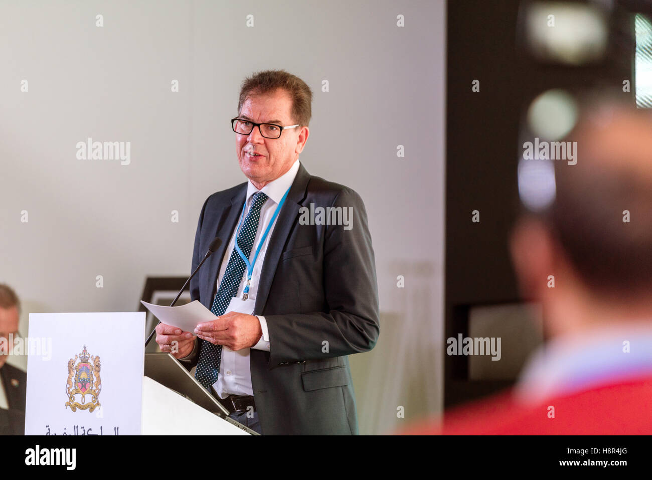 Marrakech, Morocco. 15th Nov, 2016. The German Federal Ministat the UN Climate Conference COP22 in Marrakech, Morocco, Stock Photo