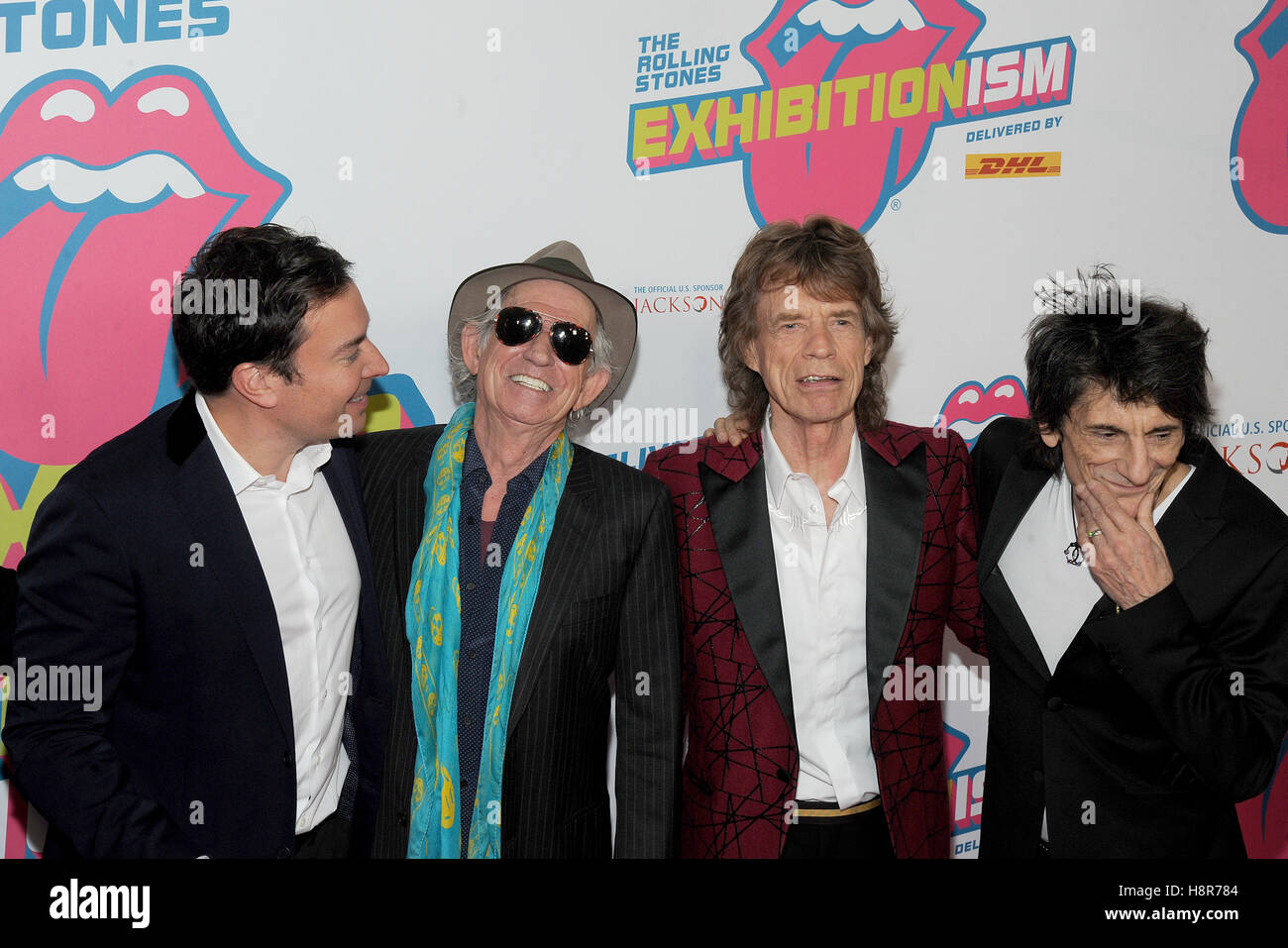 New York, NY, USA. 15th Nov, 2016. Jimmy Fallon, Keith Richards, Mick Jagger and Ronnie Wood attends The Rolling - Stock Image