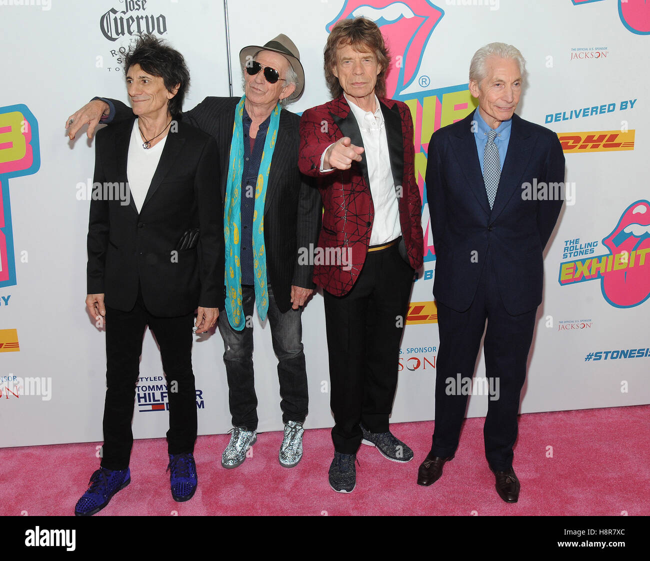 New York, NY, USA. 15th Nov, 2016. Ronnie Wood, Keith Richards, Mick Jagger and Charlie Watts attend The Rolling - Stock Image