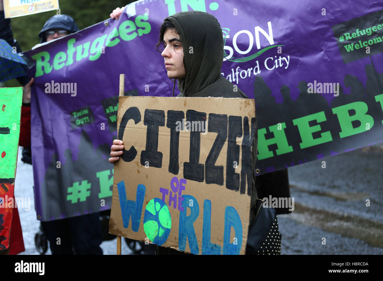 Salford, UK. 16th November, 2016. Campaigners support Dianne Ngoza, a Zambian national, who has lived in the UK Stock Photo