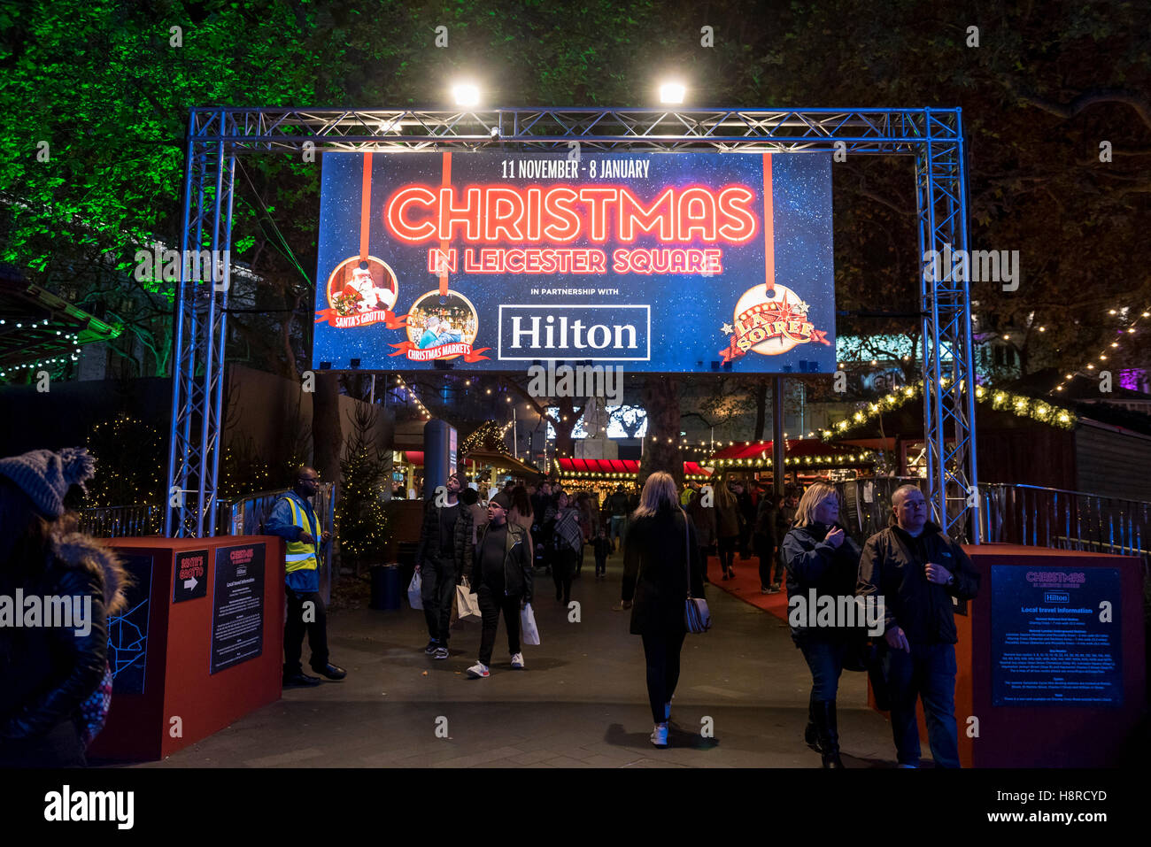 London, UK.  16 November 2016.  A Christmas Market is taking place in Leicester Square until the beginning of January. Stock Photo