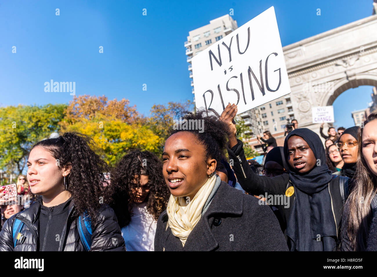 New York, USA. 16th Nov, 2016. Eight days after the US Presidential election, NYU students and faculty walked out - Stock Image