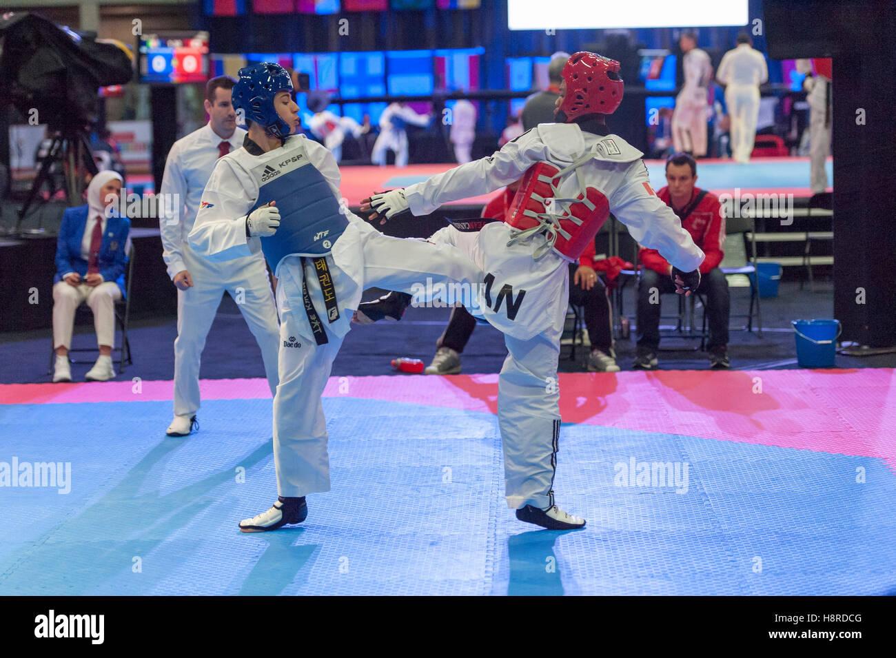 Burnaby, Canada. 16th Nov, 2016. WTF World Taekwondo Junior Championships, Georgios Ioannou (GRE) in blue and Darius - Stock Image