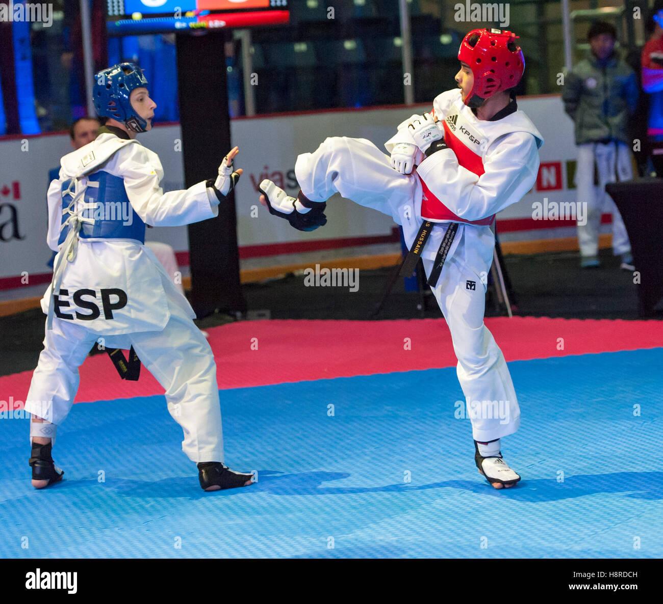 Burnaby, Canada. 16th Nov, 2016. WTF World Taekwondo Junior Championships, Alan Arcal Alcazar (ESP) in blue and - Stock Image