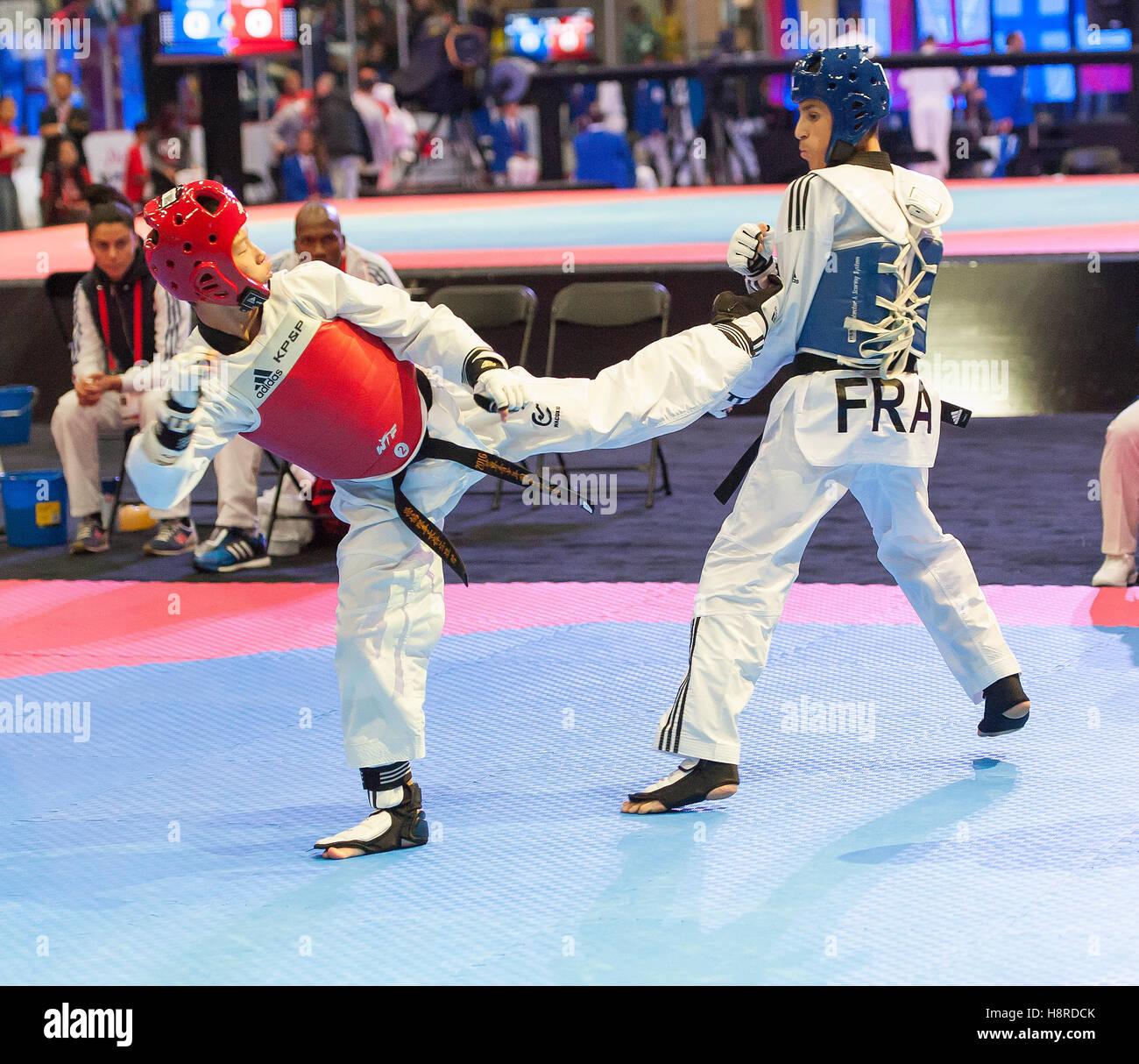 Burnaby, Canada. 16th Nov, 2016. WTF World Taekwondo Junior Championships, Zackarya Aziz (FRA) in blue and Cheng - Stock Image