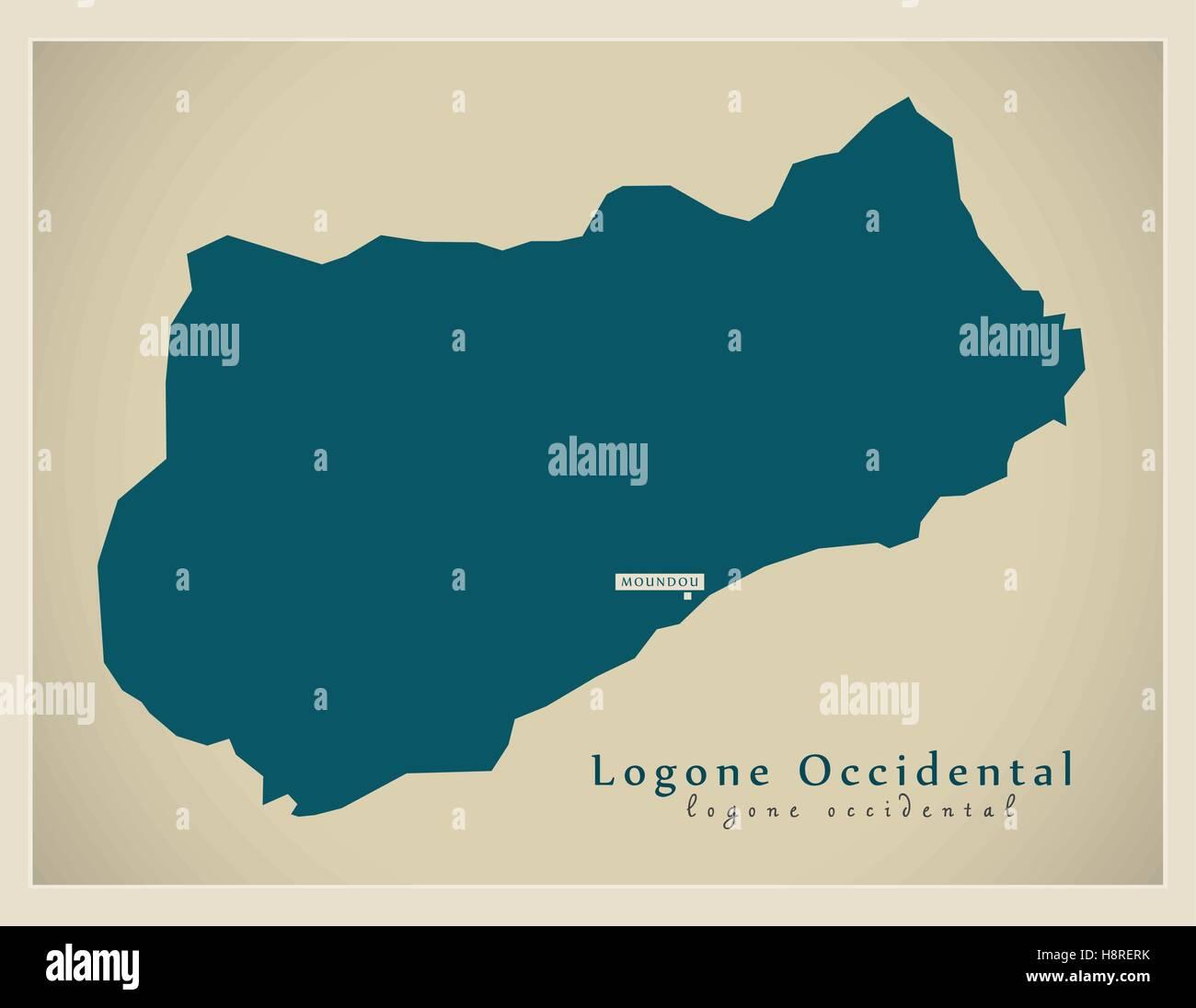 Modern Map - Logone-Occidental TD - Stock Image