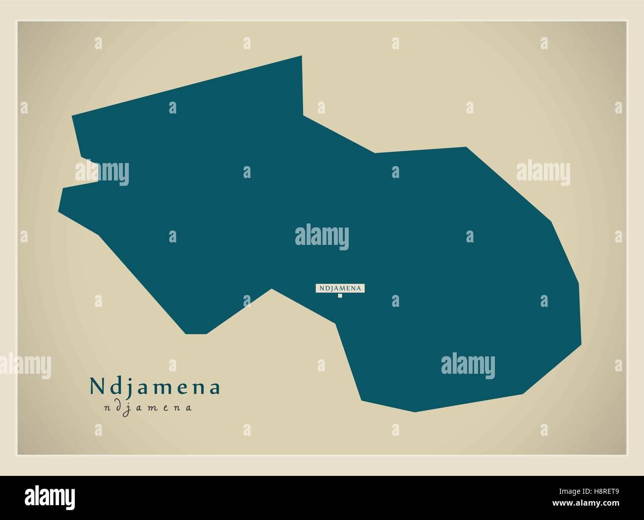 Modern Map - Ndjamena TD - Stock Image