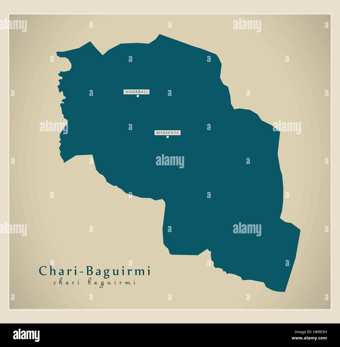 Modern Map - Chari-Baguirmi TD - Stock Image