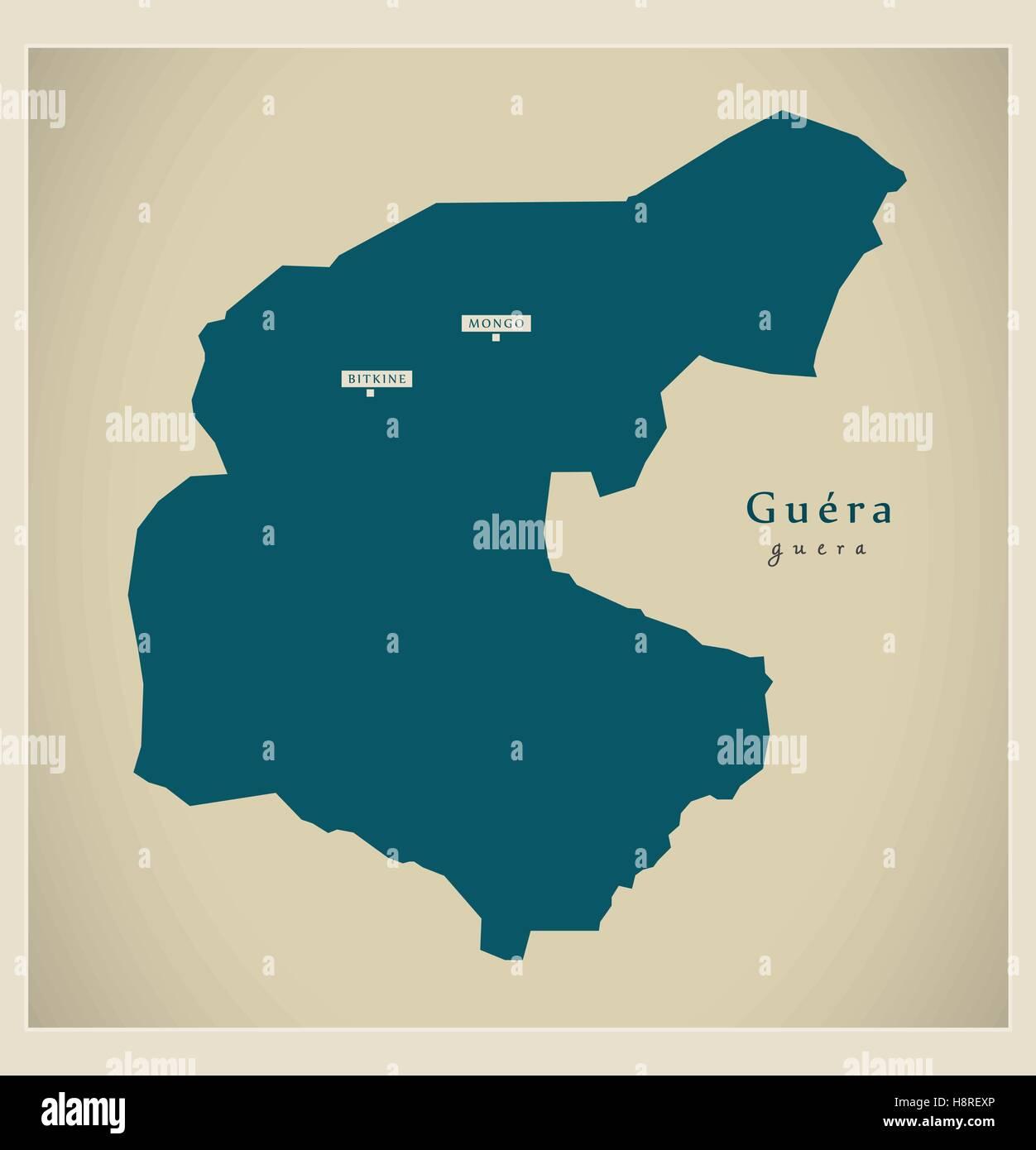 Modern Map - Guera TD - Stock Image