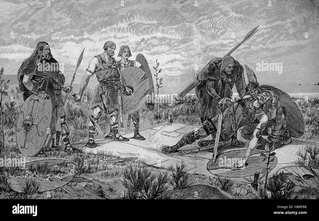 old german combat. Holmgang is a duel practiced by early medieval Scandinavians. It was a recognized way to settle - Stock Image