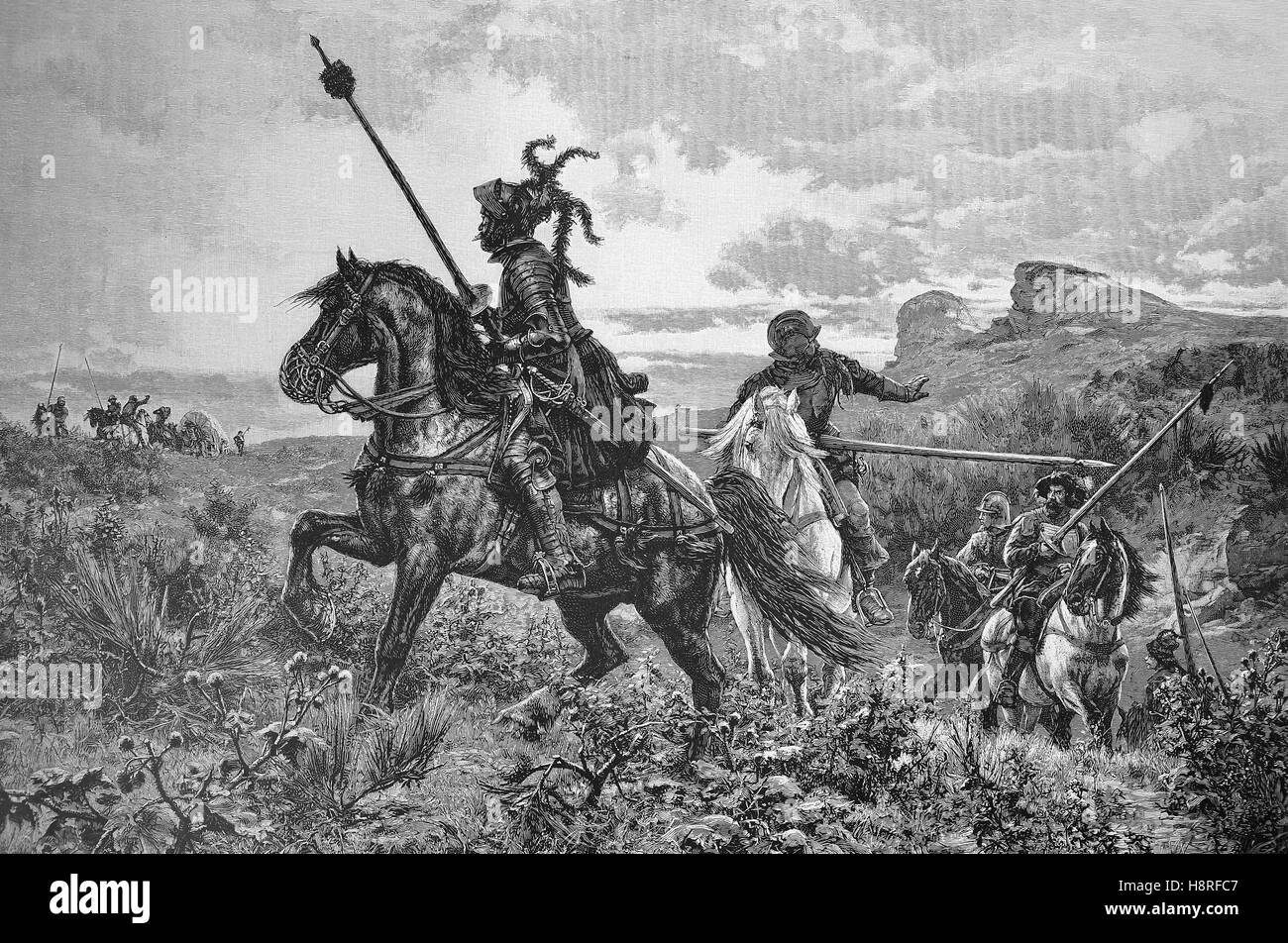 The robber barons or robber knights attacked a goods transport in the Middle Ages - Stock Image