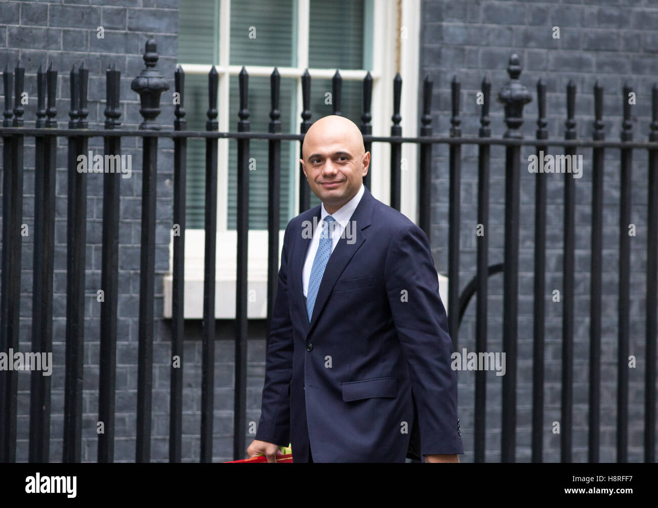 Sajid Javid,Secretary of State for Communities and Local Government,arrives at Downing street for a Cabinet meeting - Stock Image