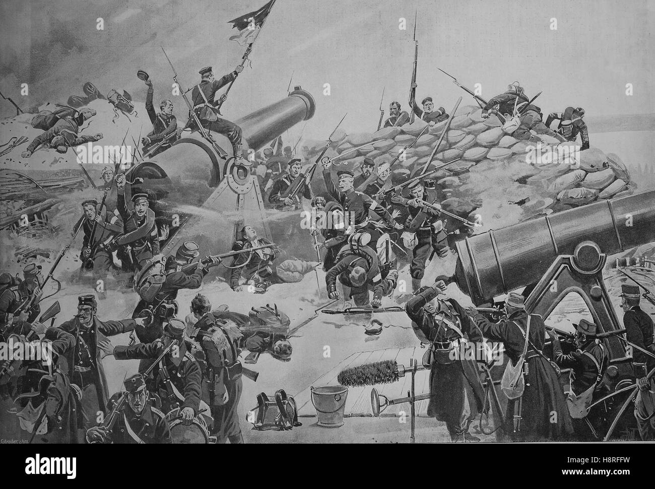 The Battle of Dybba? Dueppeler Schanzen, was the key battle of the Second Schleswig War and occurred on the morning - Stock Image
