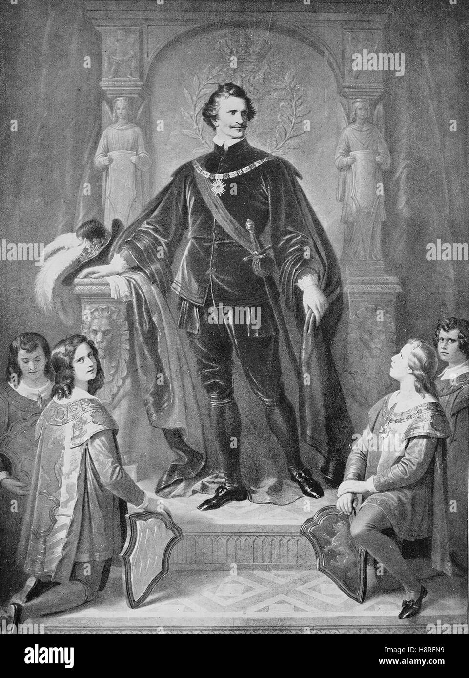 Ludwig I, Louis I was king of Bavaria from 1825 until the 1848 revolution, here dressed with the costume of the - Stock Image
