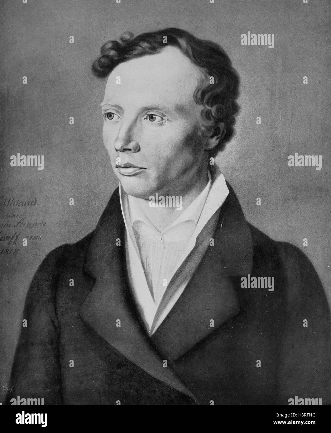 Johann Ludwig Uhland was a German poet, philologist and literary historian - Stock Image