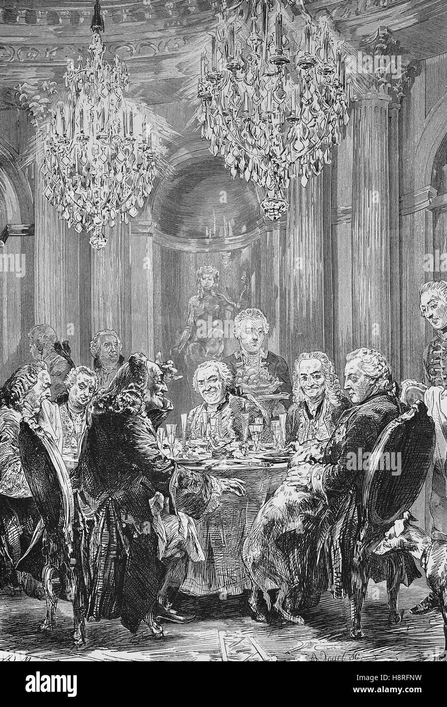 Frederick II. was King of Prussia, his round table at Sanssouci, Germany - Stock Image